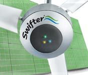 Solar powered hybrid industrial ceiling fans for efficient cooling of warehouses and large spaces.