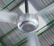 The Swifter® Industrial Ceiling Fan is a new and revolutionary large-scale ceiling fan.